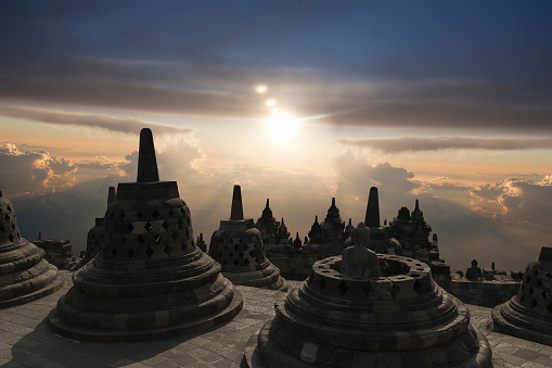 Ancient Civilization「Spires on Temple of Borobudur at sunset, Borobudur, Indonesia」:スマホ壁紙(13)