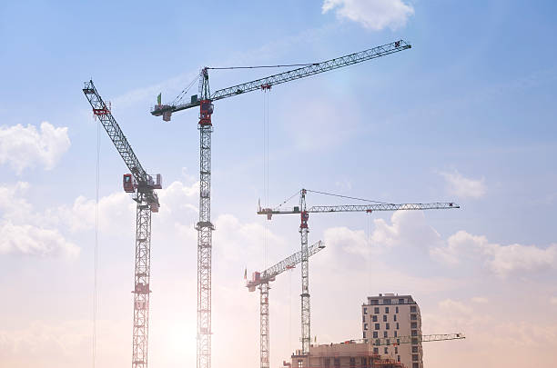 Germany, Duesseldorf, large construction site, cranes:スマホ壁紙(壁紙.com)