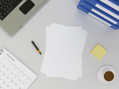 カレンダー「オフィステーブルと空白の紙」:スマホ壁紙(6)