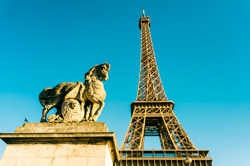 Horse「France, Paris, Eiffel Tower and horse sculpture in the foreground」:スマホ壁紙(9)