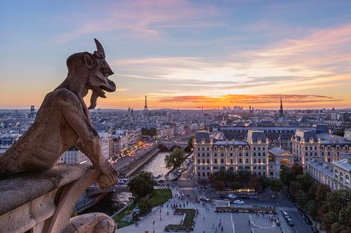 Figurine「France, Paris, View from Notre Dame de Paris, city view at sunset」:スマホ壁紙(9)