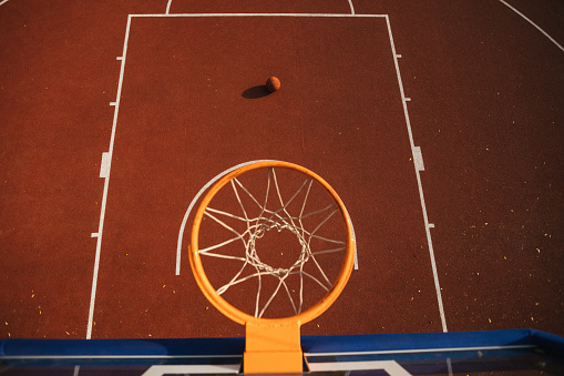 Taking a Shot - Sport「Drone point view of empty basketball court」:スマホ壁紙(3)