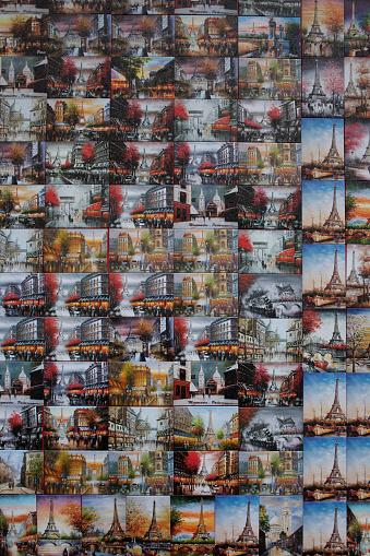 Gift Shop「Collage of souvenir postcards on gift shop wall, Paris, Ile-de-France, France」:スマホ壁紙(8)