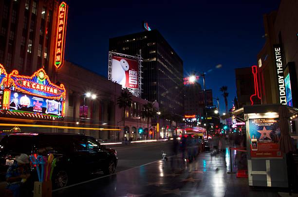 Hollywood Boulevard at night:スマホ壁紙(壁紙.com)