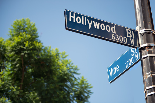 Guidance「Hollywood Boulevard and Vine Street street signs, Hollywood, California, America, USA」:スマホ壁紙(1)