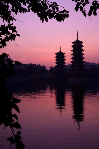 Guilin Hills「Twin Pagoda in Sunset」:スマホ壁紙(8)