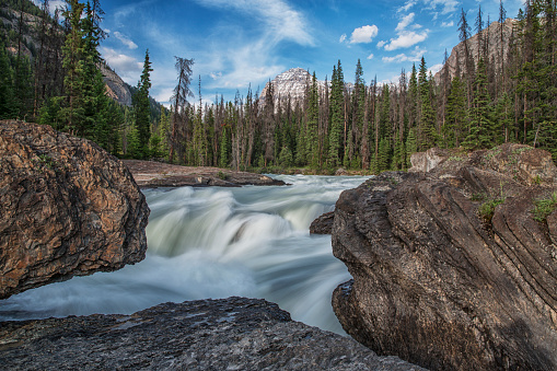 Yoho National Park「The Kicking Horse River flows over a waterfall before it goes beneath a natural bridge, Yoho National Park」:スマホ壁紙(11)