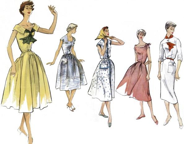 ドレス「French Summer Fashions, 1950s.」:写真・画像(7)[壁紙.com]