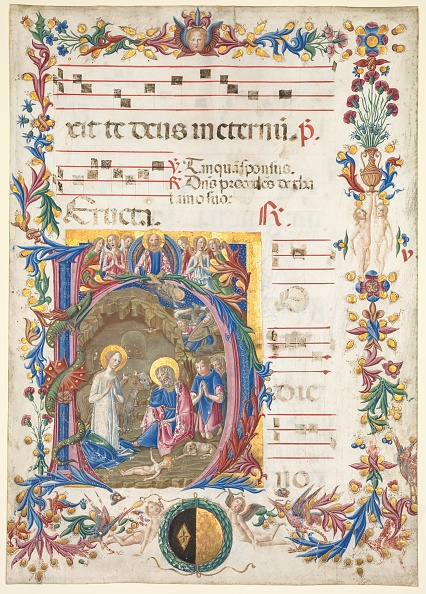 Tempera Painting「Single Leaf From An Antiphonary: Initial H[Odie Nobis] With The Nativity」:写真・画像(1)[壁紙.com]