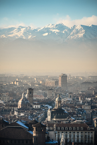 Piedmont - Italy「Panoramic View of Turin and Snowy Italian Alps」:スマホ壁紙(8)