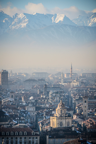 Piedmont - Italy「Panoramic View of Turin and Snowy Italian Alps」:スマホ壁紙(11)