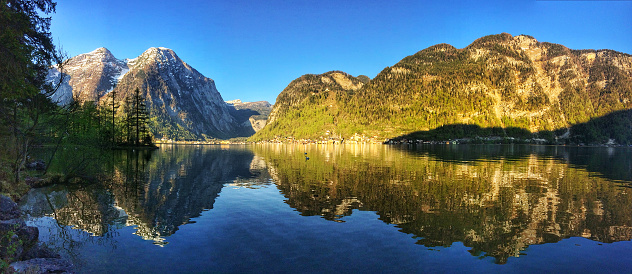 Salzkammergut「Panoramic view of the mountain lake」:スマホ壁紙(5)