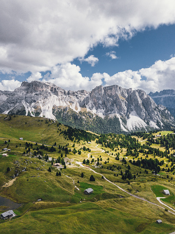 Alto Adige - Italy「Panoramic view of Dolomites Alps, Seceda area on a sunny day」:スマホ壁紙(1)