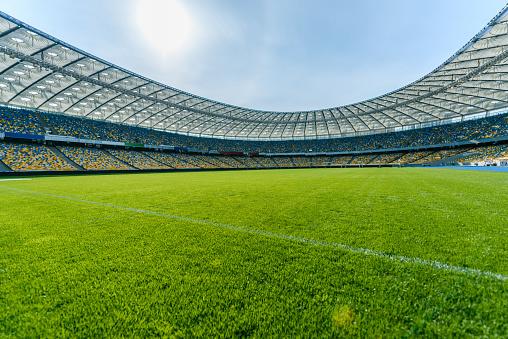 Match - Sport「Panoramic view of soccer field stadium and stadium seats」:スマホ壁紙(4)