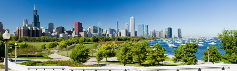 Great Lakes「Panoramic View of the Chicago City Skyline in Illinois USA」:スマホ壁紙(0)
