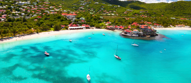 French Overseas Territory「panoramic view of St.Jean Bay in St.Barths, FWI」:スマホ壁紙(0)