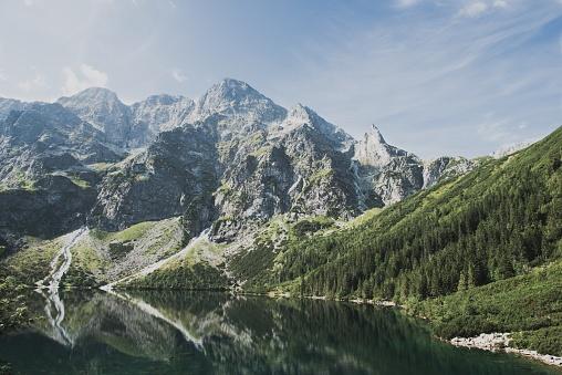 National Park「Panoramic view of Morskie Oko lake, Carpathian Mountain Range, Tatra,」:スマホ壁紙(1)