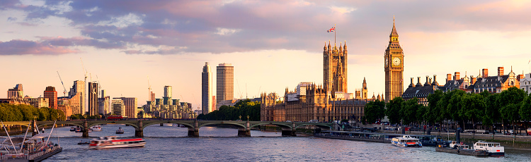 Panoramic「Panoramic view of Westminster Bridge and Westminster Palace with Big Ben at sunset」:スマホ壁紙(7)