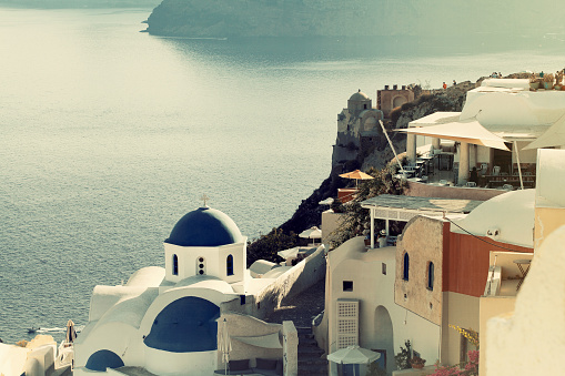 Aegean Sea「Panoramic view of Oia, Santorini」:スマホ壁紙(19)