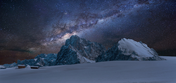 Milky Way「Panoramic view of Langkofel by night with milky way」:スマホ壁紙(16)
