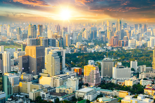Motorcycle「Panoramic view Cityscape business district from aerial view high building at dusk (Bangkok, Thailand)」:スマホ壁紙(14)