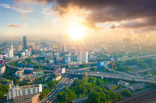 Motorcycle「Panoramic view Cityscape business district from aerial view high building at dusk (Bangkok, Thailand)」:スマホ壁紙(10)