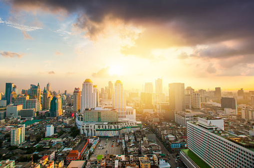 Motorcycle「Panoramic view Cityscape business district from aerial view high building at dusk (Bangkok, Thailand)」:スマホ壁紙(18)