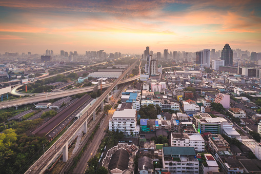 Motorcycle「Panoramic view Cityscape business district ( Patunam , Central world , Bangkok, Thailand) building at dusk」:スマホ壁紙(14)