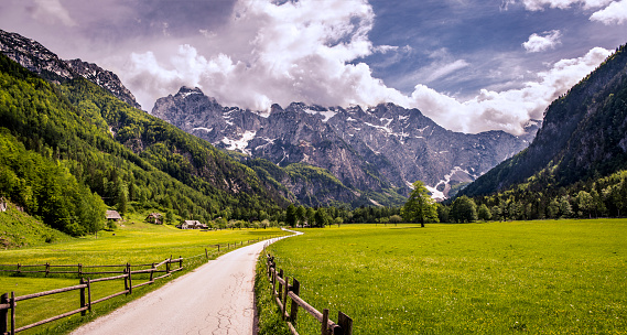 European Alps「Panoramic view of Logar Valley in Slovenia.」:スマホ壁紙(16)
