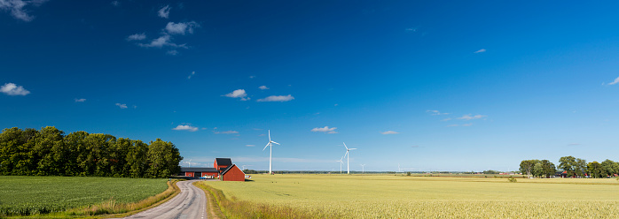 Mill「Panoramic view of countryside of Sweden with wind turbines」:スマホ壁紙(9)