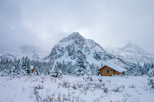 Woodland「Fog, Cabin and Snow at Mount Assiniboine Provincial Park, Canada.」:スマホ壁紙(5)