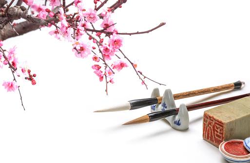 梅の花「Plum blossom and handwriting items」:スマホ壁紙(5)