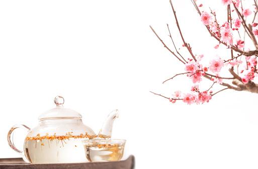 梅の花「Plum blossom and teapot」:スマホ壁紙(18)