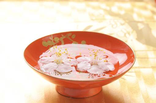 梅の花「Plum blossoms in saki cup」:スマホ壁紙(5)