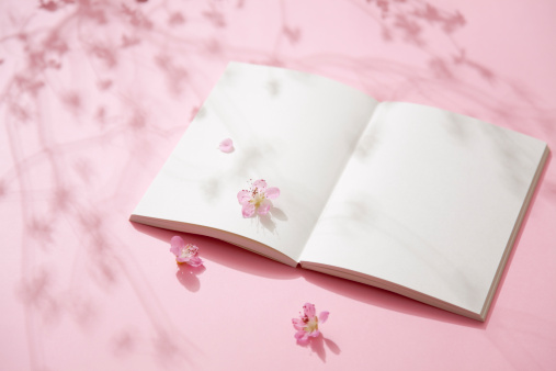 梅の花「Plum blossoms and blank notebook.」:スマホ壁紙(13)