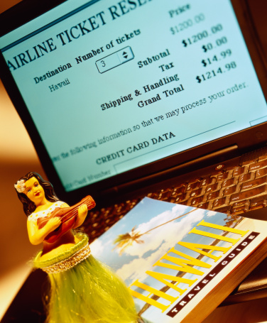 Grass Skirt「laptop screen displaying airline reservation and Hawaiian doll and travel guide kept over keyboard」:スマホ壁紙(9)