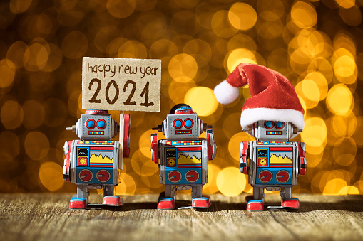 Santa Hat「Happy New year 2021. Three retro robots posing for Holidays - Christmas Santa Fun Humor」:スマホ壁紙(19)