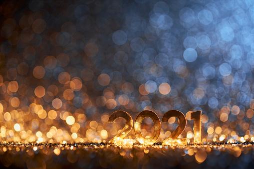 Glitter「Happy New Year 2021 - Christmas Gold Blue Glitter」:スマホ壁紙(4)