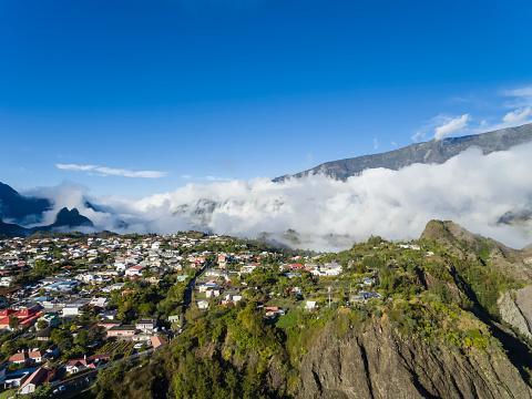 French Overseas Territory「Reunion, Cilaos, Cirque de Cilaos, Aerial view」:スマホ壁紙(1)