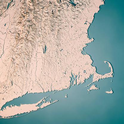 地図「アメリカ合衆国マサチューセッツ州 3 D レンダリング地形図ニュートラル」:スマホ壁紙(0)