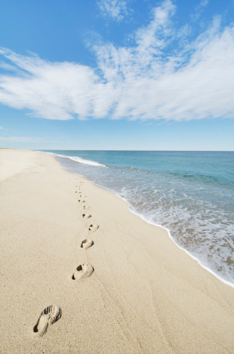 Summer「USA, Massachusetts, Nantucket, Nantucket Island, Footprints on sandy beach」:スマホ壁紙(14)