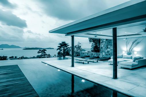 Chalet「Luxury Home Island Villa On An Island Along The Coastline At Twilight」:スマホ壁紙(17)