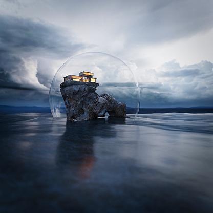 トウヒ「Luxury home on fantasy island inside protective sphere with storm on the horizon」:スマホ壁紙(19)