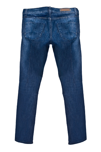 Denim「Dark blue jeans isolated on white background, rear view」:スマホ壁紙(10)