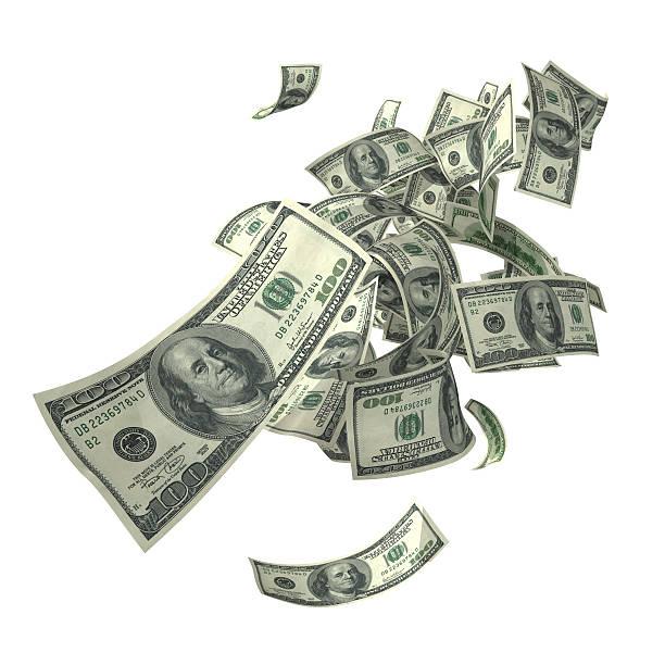 Falling 100 dollar bills in various angles:スマホ壁紙(壁紙.com)