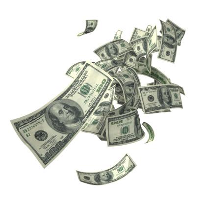 American One Hundred Dollar Bill「Falling 100 dollar bills in various angles」:スマホ壁紙(4)