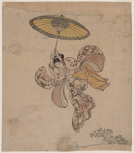 Edo Period「Young Woman Jumping From The Kiyomizu Temple Balcony With An Umbrella As A Parachute」:写真・画像(13)[壁紙.com]