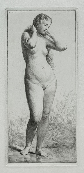Etching「Young Woman Bathing. Creator: Charles-Émile Jacque (French」:写真・画像(2)[壁紙.com]