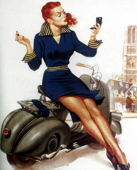 One Woman Only「young woman on vespa scooter putting make up on , on the banks of river Seine in Paris 50's」:写真・画像(14)[壁紙.com]