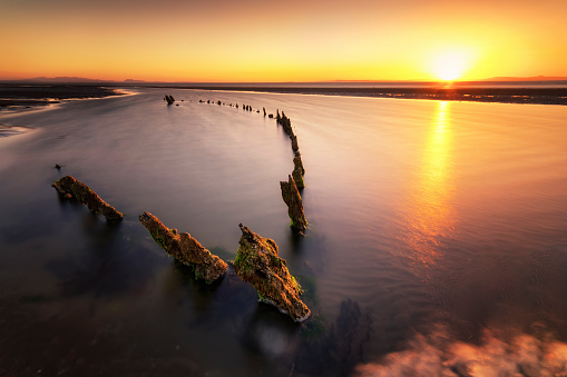 East Lothian「Great Britain, Scotland, East Lothian, Aberlady Nature Reserve, Shipwreck at sunset」:スマホ壁紙(2)